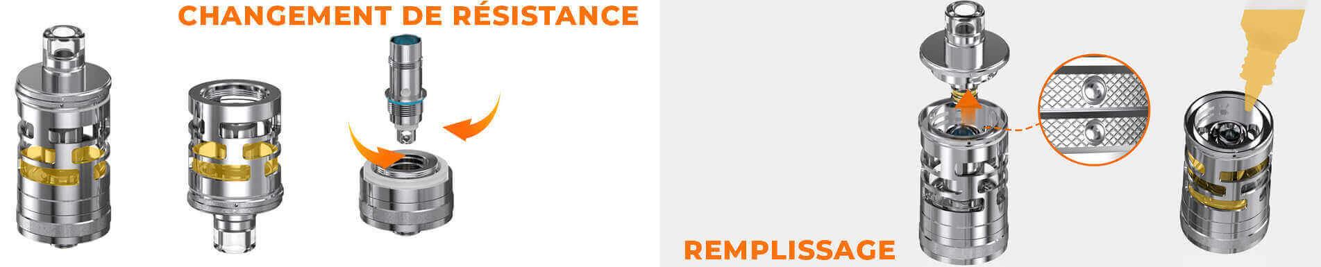 Remplissage / Changement résistance Nautilus GT Mini Aspire